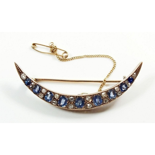 663 - A Victorian gold crescent brooch set graduated sapphires and diamonds, 5cm, 4.9gm, unmarked