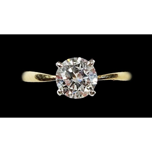 719 - A fine 18ct gold diamond solitaire ring, 1.06cts, size O, 4.2g