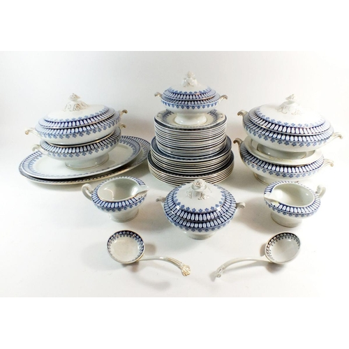 10 - A large early 20th century 'CEM' blue and white dinner service consisting fifteen side plates, seven...