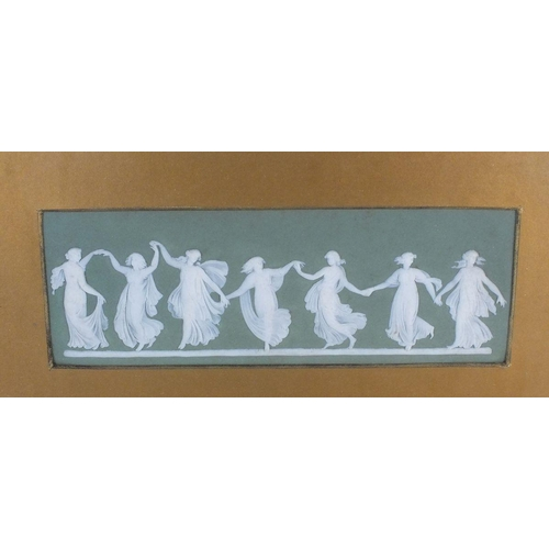 14 - A late Victorian Wedgwood Jasperware green plaque decorated Dancing Hours pattern, framed and glazed...