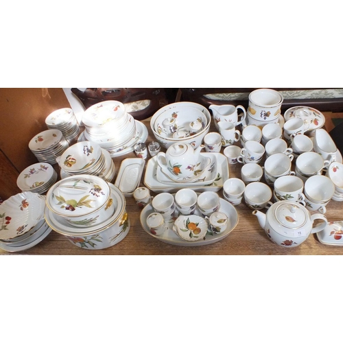 15 - A large quantity of Royal Worcester Evesham dinner ware and kitchen ware including serving dishes an...