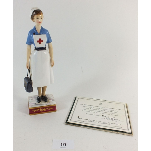 19 - A Royal Worcester nurse figure, British Red Cross Society VAD member  limited edition number 296/750...