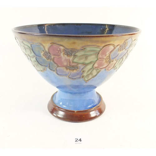24 - A Royal Doulton stoneware pedestal bowl with tube lined decoration of flowers c1920, 16cm high