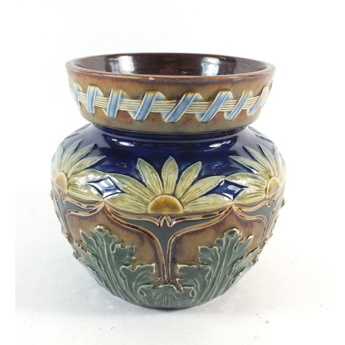 26 - A Royal Doulton Lambeth tobacco jar with stylised floral decoration