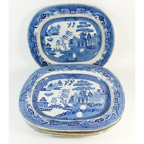 3 - Five various large Victorian willow pattern meat plates