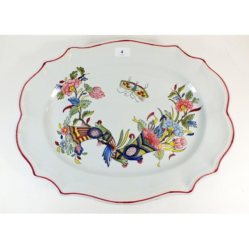 4 - A large French faience serving dish painted flowers and butterfly, printed mark, 50 x 37cm