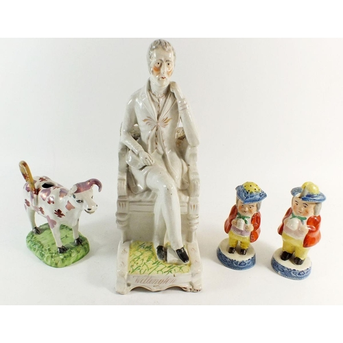 43 - A group of Victorian Staffordshire figures including Wellington, two cruet figures etc, some damage