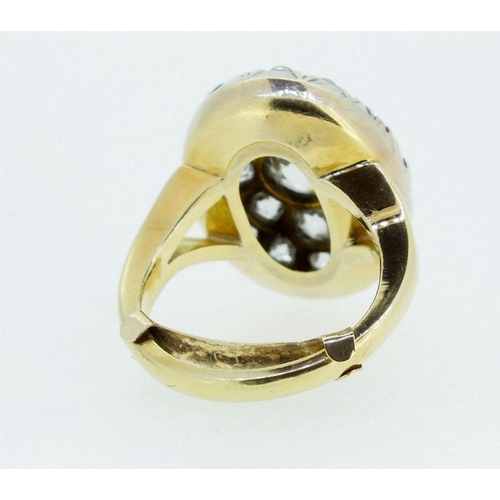 457 - An 18 carat gold antique diamond cluster ring, converted from a brooch, unmarked, size K, 8.8g, 2cm ...