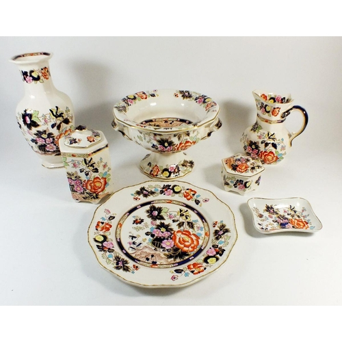 5 - A selection of Masons Ironstone Mandarin pattern pottery to include large vase, plate, jug, trinket ...