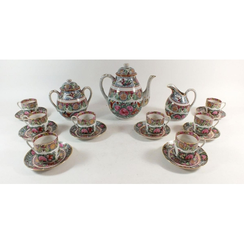 58 - A Canton tea service comprising eight cups and saucers, teapot, jug and sugar