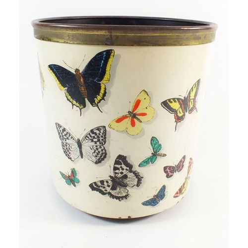 944 - A Fornasetti 'Farfalle' waste paper bin decorated butterflies, 21 x 19cm...