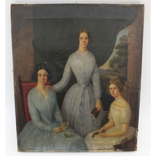 973 - An early 19th century oil on canvas of three sisters posed in interior setting, 36 x 31cm...