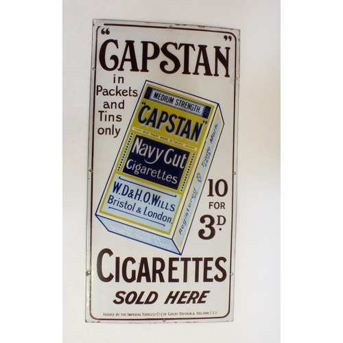 346 - A vintage Capstan Navy cigarettes 10 for 30d brown and white enamel sign, 91 x 46cm...