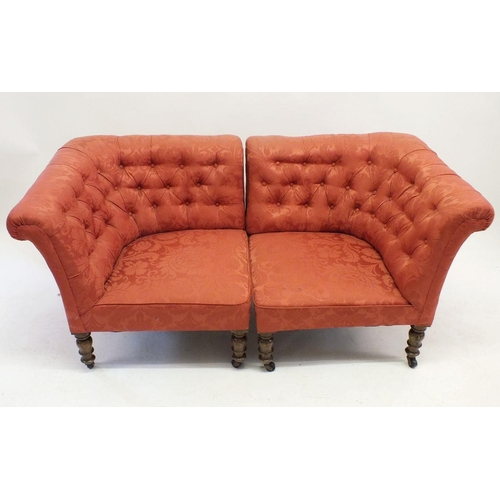 642 - A pair of Victorian coral pink button upholstered corner armchairs on turned supports - can be place...