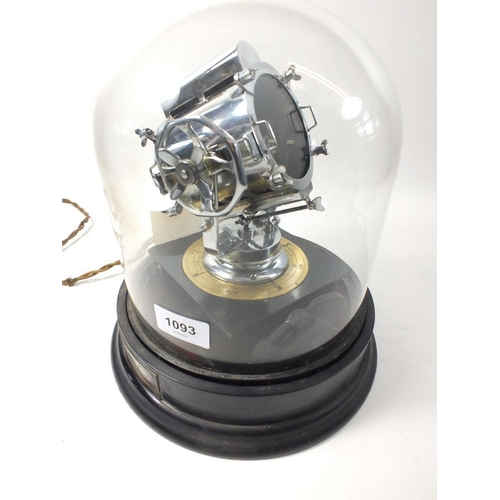 1093 - A scale model of an anti aircraft search light,  by C Sheffield, under glass dome, 60cm tall