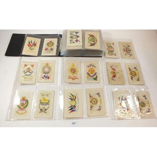 254 - Postcards - Album with WWI era embroidered cards - Regimental including Machine Gun corps, R.E & A.S...