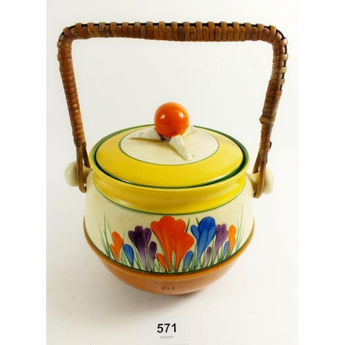 571 - A Clarice Cliff biscuit barrel painted in the Tulip pattern
