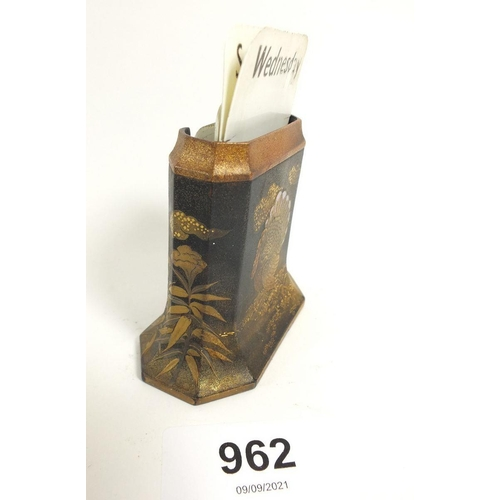 962 - A Japanese lacquered metal desk calendar with turkey decoration - calendar cards incomplete
