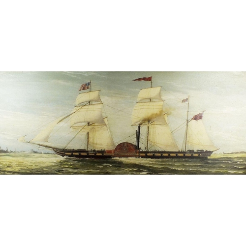 1114 - An oil on canvas of a paddle steamer 'The British Queen' from The British & American Steamer Navigat...