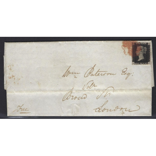 105 - GB: QV Penny 1d Black 'P F', Plate 10, 4 margin, with 'O' Flaw, on cover with benefit of Red MC, Bir...