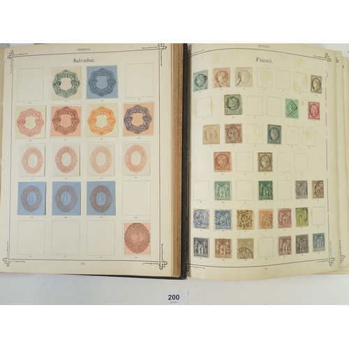 200 - Br Empire & World: Pair of old 1892 gilded black Stanley Gibbons Imperial Albums, Vol 1 (GB, Europe ...