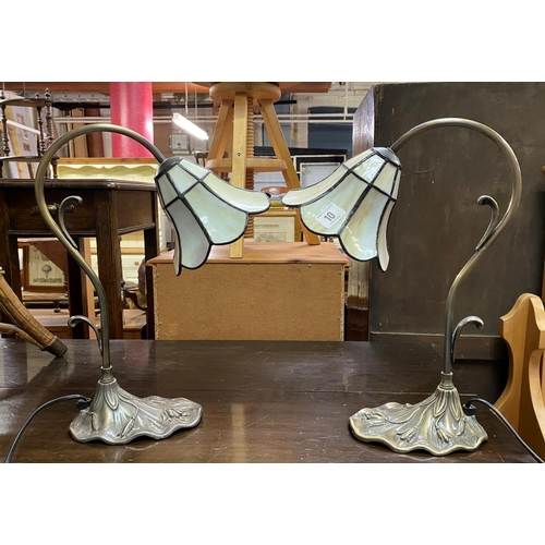 10 - Pair of tiffany style lamps