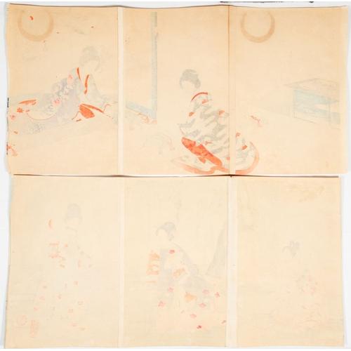 11 - Chikanobu Yoshu, Beauties, Court Ladies, Chiyoda Palace, Set of 2 Triptychs, Meiji Artist: Chikanobu...