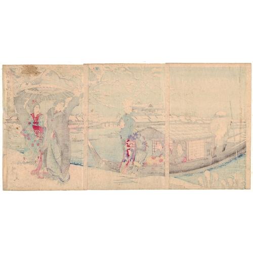 15 - Chikanobu Yoshu, Beauties, Snow Scene, Sumida Bank, Triptych, Meiji Artist: Chikanobu Yoshu (1838-19...