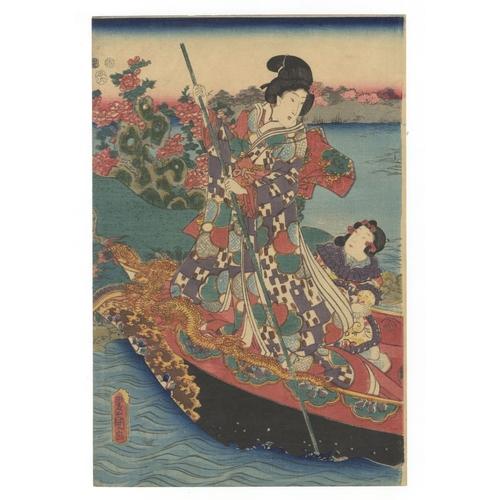 16 - Toyokuni III Utagawa, Beauties, Boat, Green Tea, Triptych, Edo Artists: Toyokuni III Utagawa (1786-1...