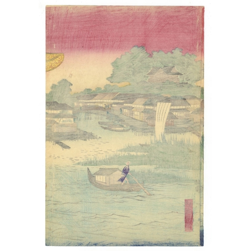 17 - Toyokuni IV Utagawa, Ikkei Shosai, Beauties, Pleasure Quarter, Drinking on a Boat, Triptych, Edo Art...