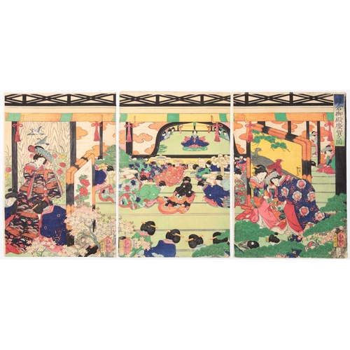 18 - Yoshitsuya Utagawa, Beauties, Celebration at Kamakura Palace, Triptych, Edo Artist: Yoshitsuya Utaga...