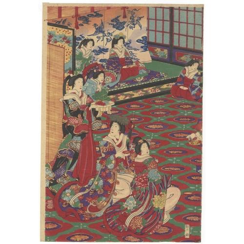 19 - Chikanobu Toyohara, Beauties, Party, Royal College of Tokyo, Triptych, Meiji Artist: Chikanobu Toyoh...