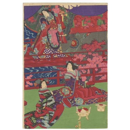 20 - Chikanobu Toyohara, Beauties, Song and Dance, Performance, Triptych, Meiji Artist: Chikanobu Toyohar...