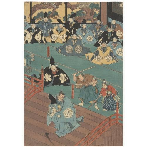 46 - Kuniyoshi Utagawa, Historical, Rokuro Kintsuro, Masakado, Court, Triptych, Edo Artist: Kuniyoshi Uta...