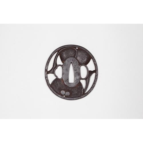 10 - Japanese round shape iron tsuba, Engraved by Echizen ju Kinai Title: Engraved by Echizen ju Kinai, r...