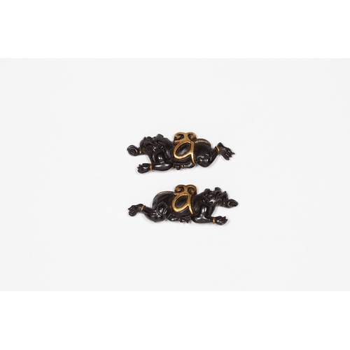 18 - Japanese 19th century a pair of Oni menuki, Title: 19th century a pair of Oni menuki