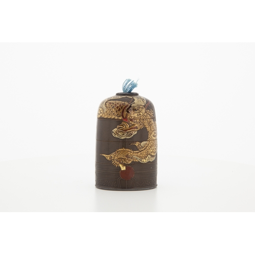 25 - Japanese 19th-century bell-shaped inro 19th-century temple bell-shaped three case inro, dragon desig...