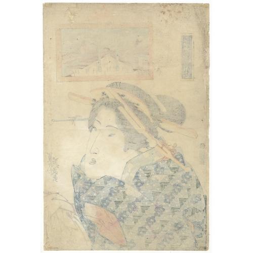 37 - Eisen Keisai, Portrait of a beauty at Hirasei, Japanese Woodblock Print, Artist: Eisen Keisai (1790-...