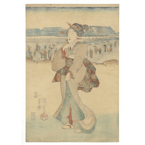 39 - Kuniyoshi Utagawa, Courtesan taking a walk, Japanese Woodblock Print, Artist: Kuniyoshi Utagawa (179...
