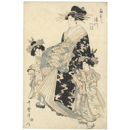 43 - Utamaro Kitagawa, Courtesan, Beauty, Japanese Woodblock Print, Artist: Utamaro Kitagawa (1753-1806)...