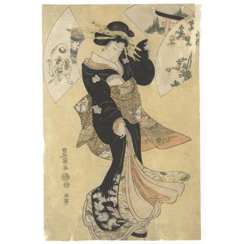 53 - Toyokuni I Utagawa, Courtesan, Fan, Beauty, Japanese Woodblock Print, Artist: Toyokuni I Utagawa (17...