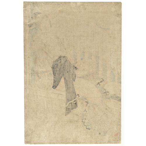 58 - Eizan Kikugawa, Courtesan, Snow, Japanese Woodblock Print, Artist: Eizan Kikugawa (1786–1864)Title:...