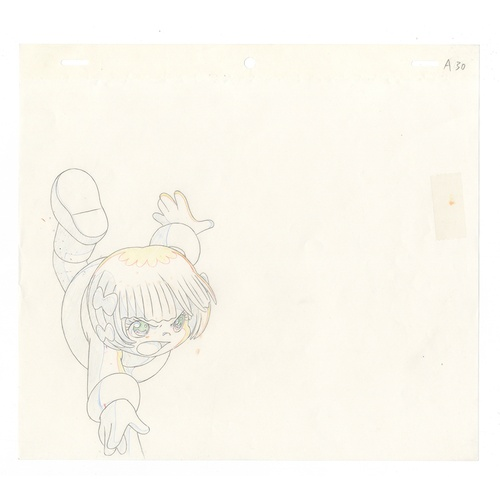 52 - Original Anime 2 Cels with 2 Sketches Animation series: The Last Mystery of the 20th Century Charact...