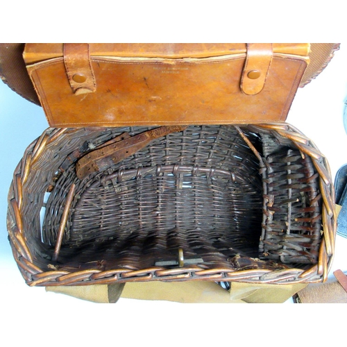 176 - HARDY BROS., ALNWICK, EARLY 20TH CENTURY FISHING EQUIPMENT COMPRISING A CREEL (H. 24 CM, W. 36 OVERA...