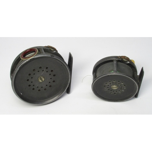 178 - A HARDY PERFECT BRASS FACED 3.25 INCH FLY REEL, WINDING PLATE MARKED AROUND THE CENTRAL HUB WITH 'HA...