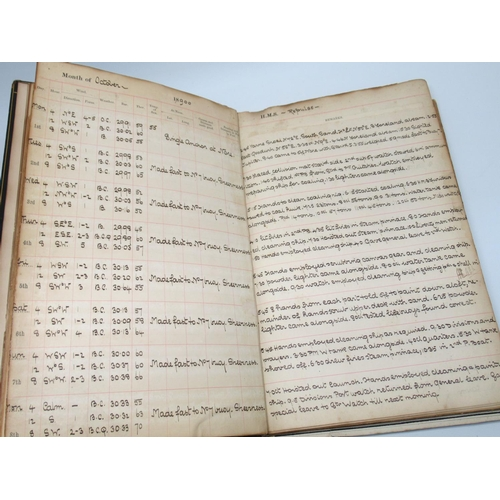186 - ROYAL NAVY SHIP'S LOG OF H.M. SHIPS 'REPULSE' AND 'ALBION' SEPT. 1900 - JUNE 1902, KEPT BY RONALD WI...