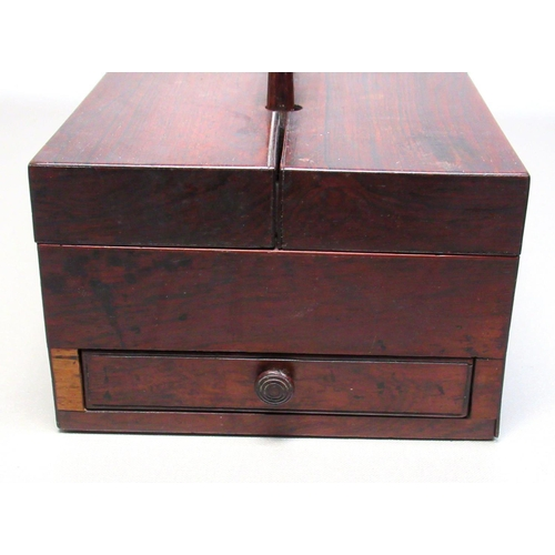 32 - A VICTORIAN PORTABLE DESK SET BOX WITH A DRAWER AND DOUBLE HINGED LIDS REVEALING FOUR COMPARTMENTS (...