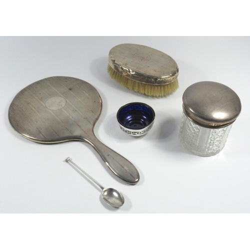151 - SILVER THREE PIECE DRESSING TABLE SET COMPRISING A HAND MIRROR, HAIR BRUSH AND SILVER COVERED JAR, B...