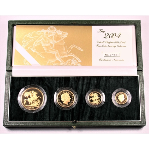 1 - GOLD PROOF SET OF ELIZABETH II COINS, £5 - HALF-SOVEREIGN, 2004 (4) No 0792, WITH C OF A, CASED AND ...