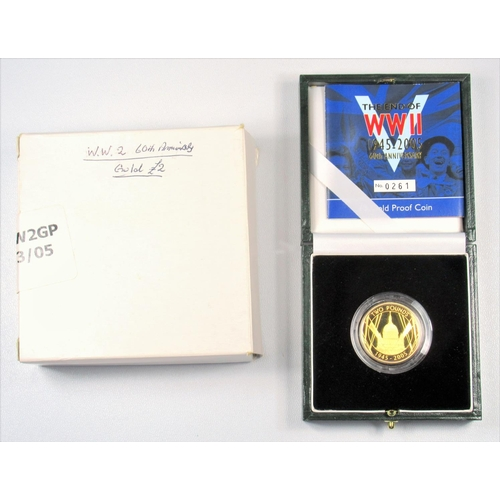 12 - GOLD PROOF ELIZABETH II END OF WW II 60TH ANNIVERSARY £2, 2005, No. 0261, WITH C OF A, CASED AND BOX...